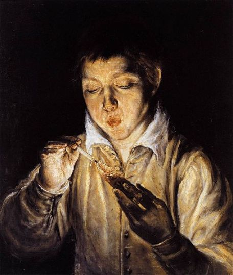 A Boy Blowing on an Ember to Light a Candle (Soplón) by El Grecko (1541-1614)