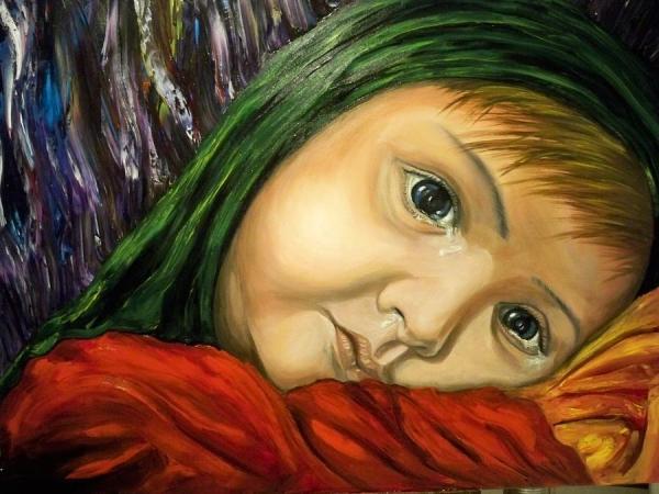 Neda-child...cries for Iran.  Artist: Ricardo Santos-alfonso