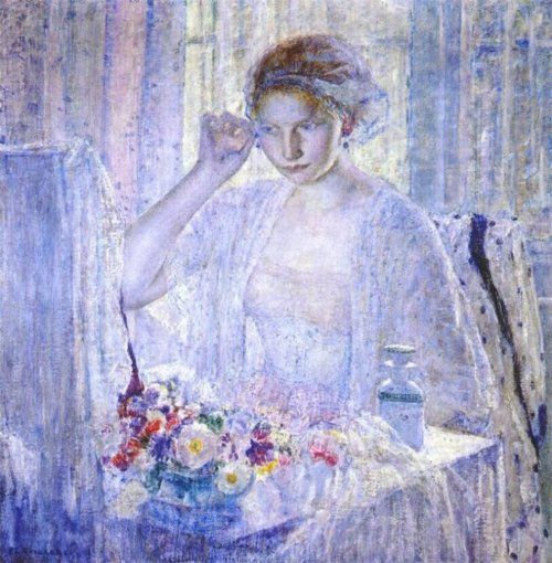 Frederick Carl Frieseke (1874 – 1939) - Girl with Earrings